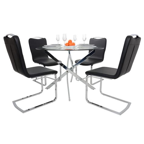 round glass table with 4 chairs round glass top dining table set with 4 black chairs