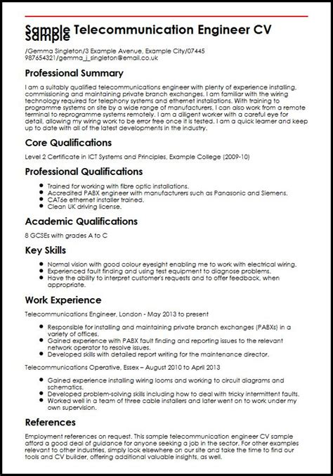 Wireless Telecom Engineer Resume by Sle Telecommunication Engineer Cv Sle Myperfectcv
