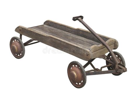Old Child's Wooden Wagon Isolated. Stock Photo