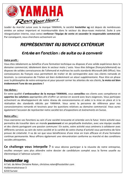 offre d emploi yamaha suisse recrute un repr 233 sentant au