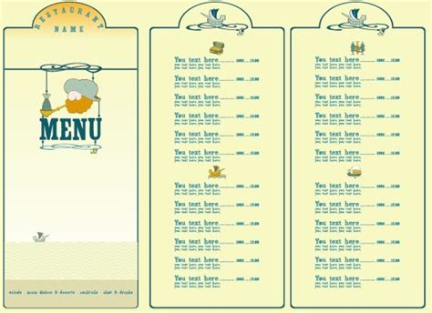 cuisine menu list restaurant menu list design elements free vector in