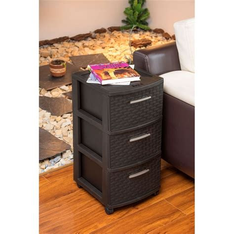 30 pound weight capacity two wheels lock for stability neutral palette allows for use in many rooms of the home. mq infinity 3-drawer rolling storage cart in espresso - 391-wen