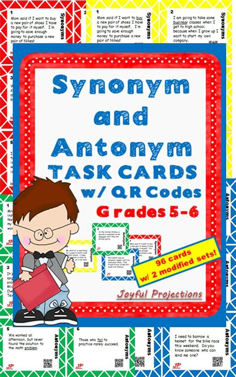 Synonym And Antonym Task Cards W Qr Codes (3rd4th