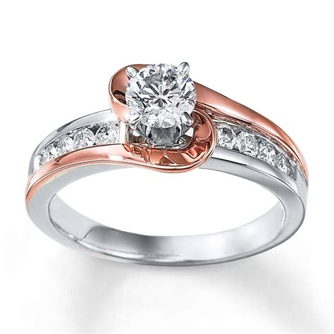 carat unique   tone white  rose gold engagement ring jeenjewels