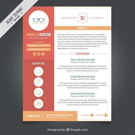 Templates For Graphic Design Resumes by Graphic Design Resume Template Vector Free