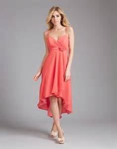 bridesmaid dresses high low high low sweetheart coral chiffon wedding guest bridesmaid dress with flower sash straps