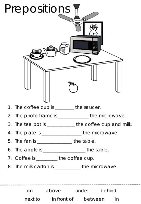prepositions worksheets in on prepositions free