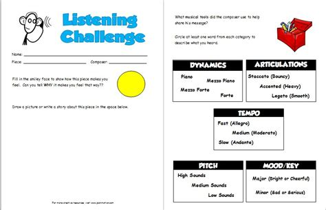 listening challenge worksheets pianimationcom