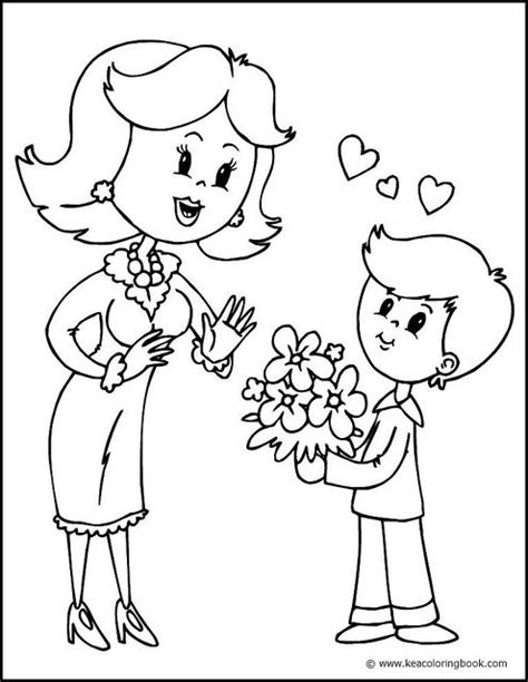 Mother and Son - Coloring Page | Mothers day coloring pages, Coloring pages, Mom coloring pages