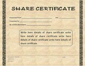 share certificate template by formsword With shareholders certificate template free