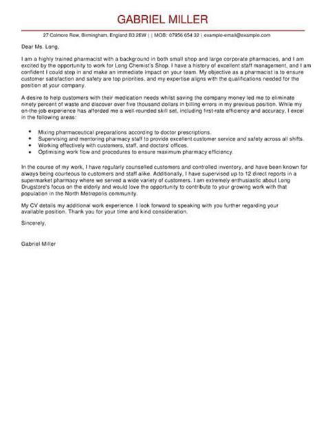 Sle Cover Letter For Pharmacist by Pharmacist Cover Letter Template Cover Letter Templates