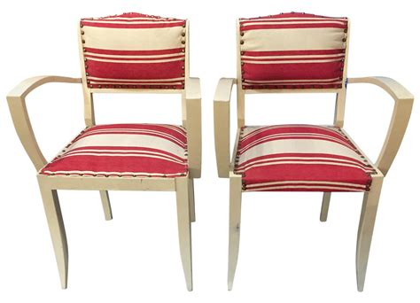 1930's French Red Striped Arm Chairs