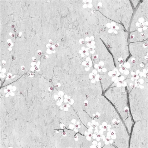graham brown floral sakura grey white  pink wallpaper