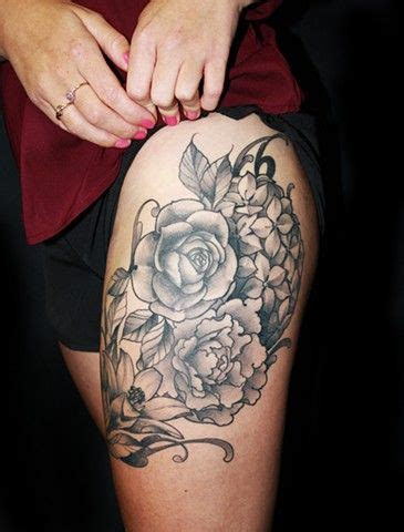 flower tattoos  upper thigh images  pinterest