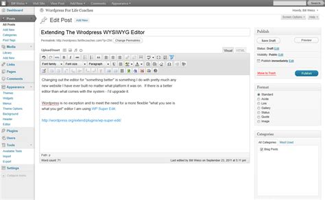 wordpress edit extending the wysiwyg editor for coaches