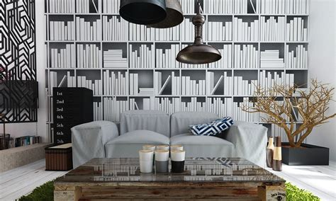 bookcase wallpaper interior design ideas