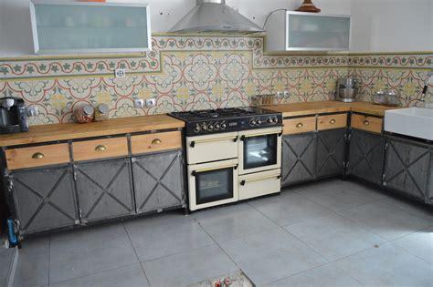 meuble cuisine acier meuble de cuisine style industriel maison et mobilier d