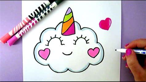 draw  cute kawaii unicorn cloud easy cute