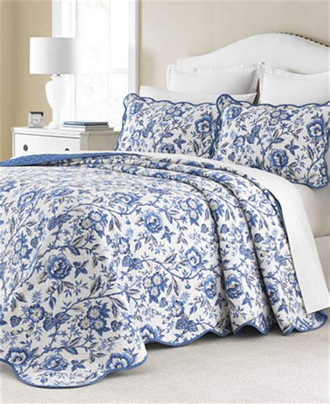 Macys Coverlets by Martha Stewart Collection Delft Meadow Reversible
