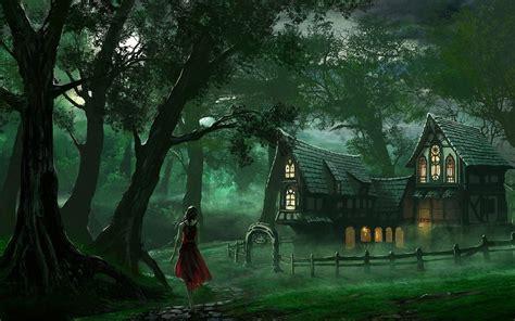 mujer bosque y casa fondos de pantalla mujer bosque y