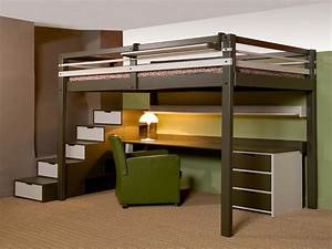 Hauteur Bureau Adulte : lit mezzanine 2 places avec bureau ~ Melissatoandfro.com Idées de Décoration