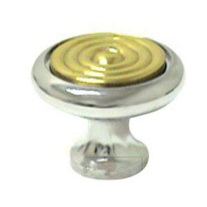two tone cabinet hardware two tone 1 1 4 quot polished chrome with brass insert knob