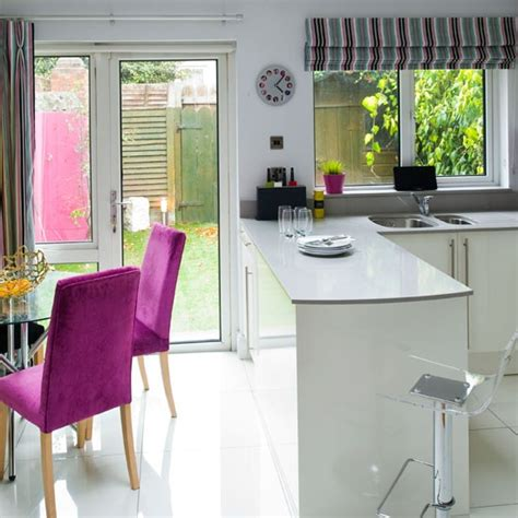 white kitchen ideas uk white lacquered kitchen diner modern kitchen ideas