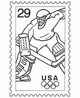 Coloring Stamp Postage Pages Sheets Stamps Usps Hockey Drawing Ice Postal Olympic Activity Sports Service Template Soccer Skating Collecting Scuba sketch template