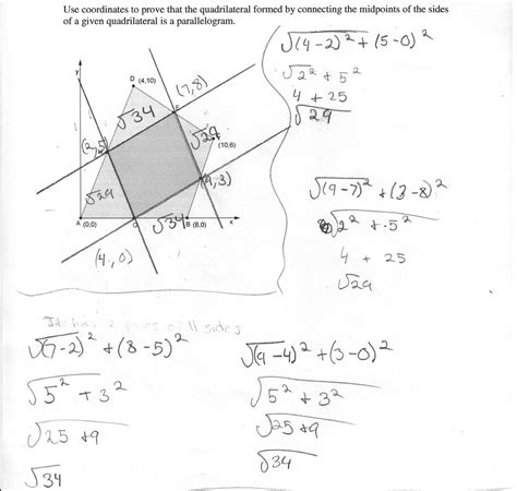 proving quadrilaterals are parallelograms worksheet