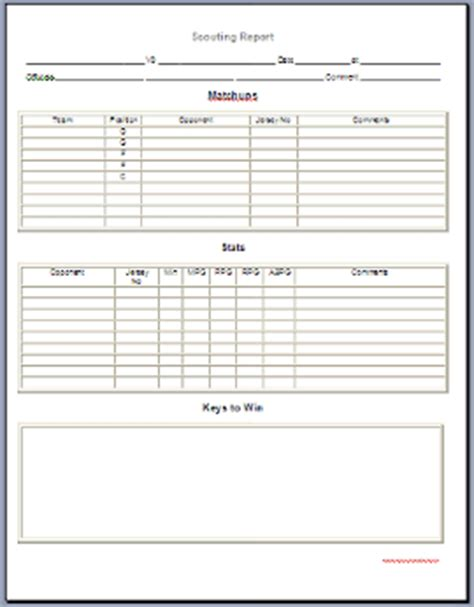 Basketball Player Scouting Report Template - Costumepartyrun