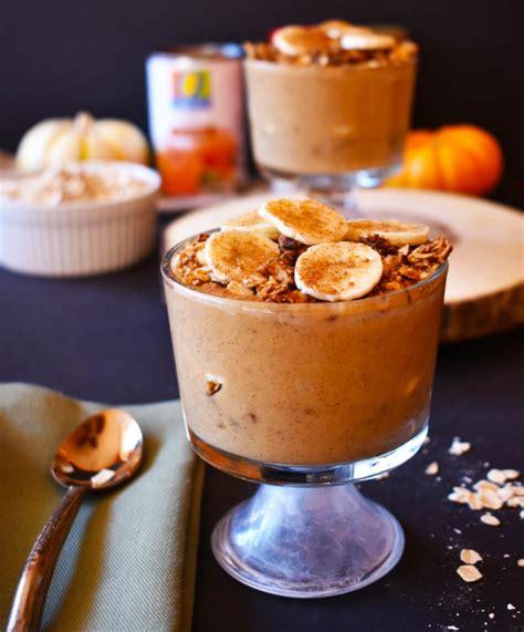 pumpkin banana protein smoothie parfaits  apple pie granola vegan gf foodie loves fitness