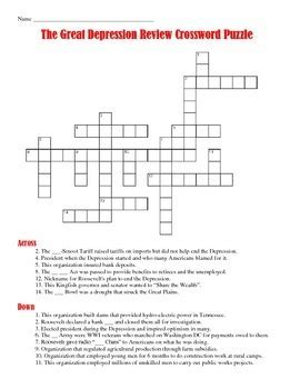 The causes of the great depression is debated by economists a lot. Great Depression Crossword Puzzle by Students of History | TpT