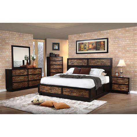 makeeda queen storage bed  brown   classic home