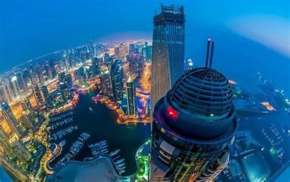 Dubai Arab Emirates United Wallpapers Aerial Night