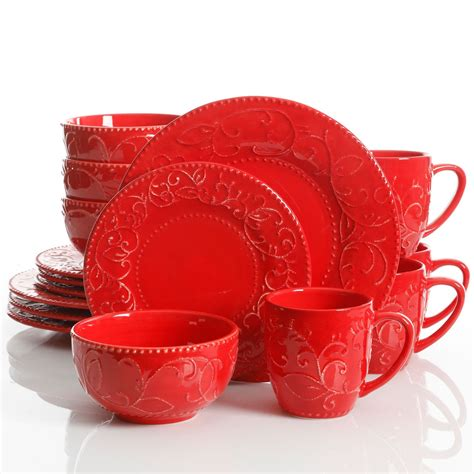 laurie gates cassis  piece dinnerware set red