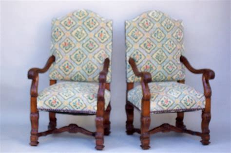 Pair Of Antique Louis Xiv Style Carved Walnut Armchairs