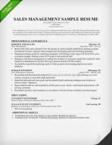 sle resume exles sales manager resume sle writing tips