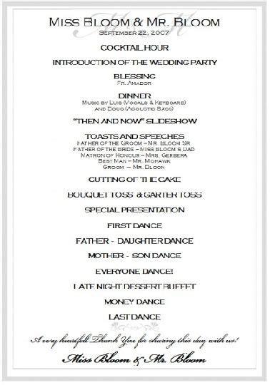 sle wedding reception program ceremony wedding