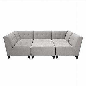 Gray tufted modular sectional sofa for Modular pit sectional sofa