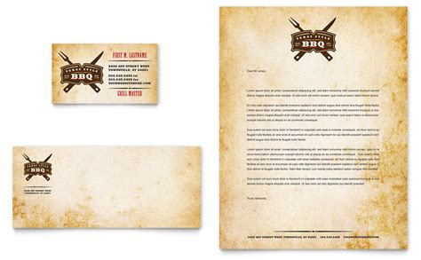 steakhouse bbq restaurant business card letterhead