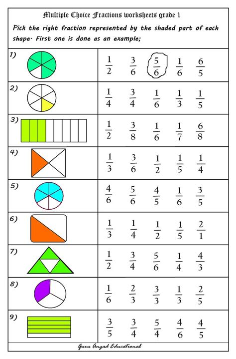 multiple choice questions  fractions worksheets
