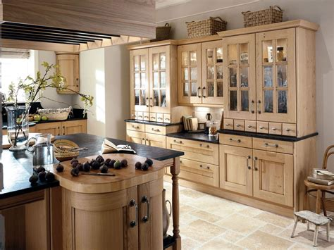 french country kitchen red green color wooden island