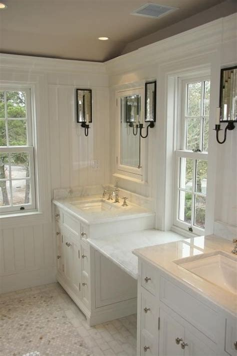 master bathroom vanity with makeup area toby leary woodworking bathrooms taupe ceiling