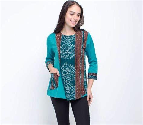 Blouse Atasan Wanita batik kerja pramugari wanita model baju batik