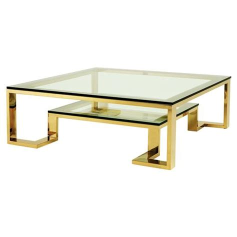 gold glass top coffee table eichholtz huntington hollywood regency glass top 2 tier
