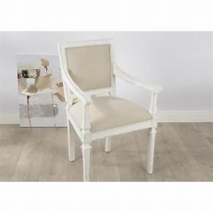 Fauteuil De Chambre : fauteuil gustave en bois vieilli blanc et tissu beige ~ Teatrodelosmanantiales.com Idées de Décoration