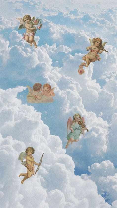 angels blue sky aestethic angel wallpaper aesthetic