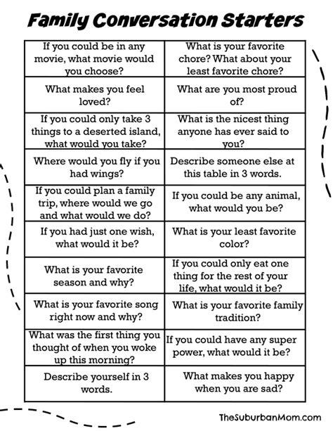 60 family conversation starters free printable