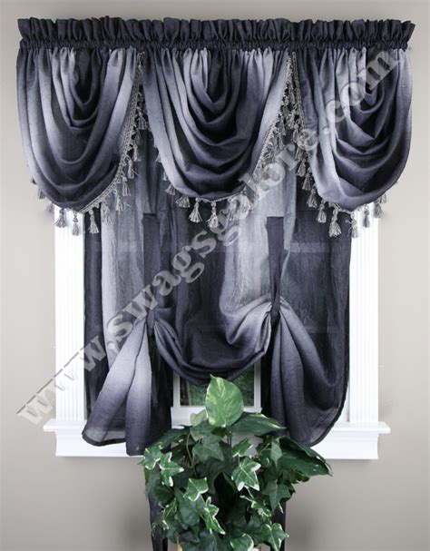 ombre tie up shade black waterfall valance ombre