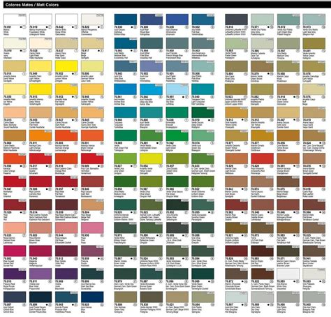 vallejo model color chart images